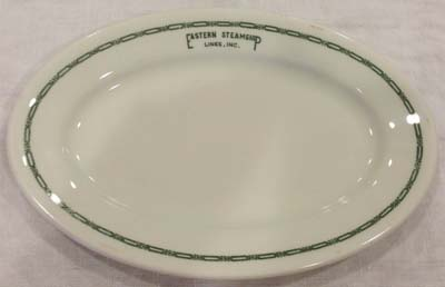 Lovely original Eastern Steamship Lines platter bears the company logo in Buffalo Chinau0027s green Ravenna pattern. This pattern pre-dated the Mayeru0027s  Marine  ... & Dinnerware