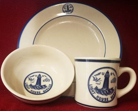 Du0026D Lines - United States Lighthouse Service Logo Reproduction Dinnerware. Long ago discontinued this wonderful quality china is much sought after. : lighthouse dinnerware - Pezcame.Com
